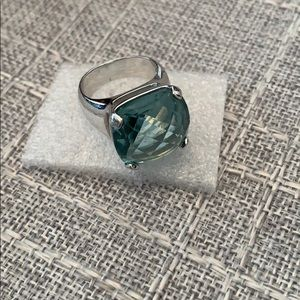Swarovski Blue Topaz and  silver ring.